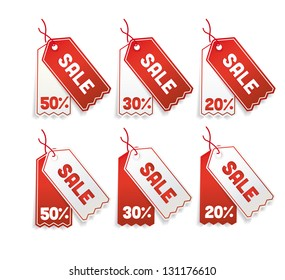 vector Red sale tags, 50%, 30%, 20%