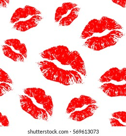 Vector red seamless pattern on white background. Lips prints