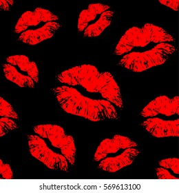 Vector red seamless pattern on black background. Lips prints