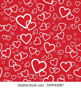 Vector red seamless pattern with white random hearts. Wrapping paper background