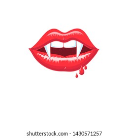 Vector red shiny vampire lips isolated on white background. Symbol for poster, postcard or flyer.