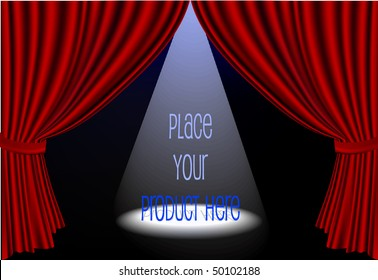 Vector red stage curtains open with spot light on center stage