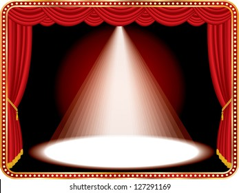 vector red stage with one white spot light