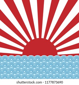 vector of red sun ray of japan rising sun with blue wave