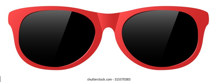 vector red sunglasses with the light shine