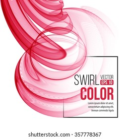 Vector red swirl line abstract background. Vector illustration EPS10