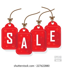 """Vector : Red tags lettering """"sale"""" .EPS10"""