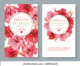 Vector red tea vertical banners with hibiscus flowers on white background. Botanic frame and logo. Design for packaging, tea shop. Can be used as greeting card, wedding invitation. With place for text