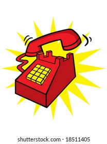 vector red telephone ringing, concept hotline