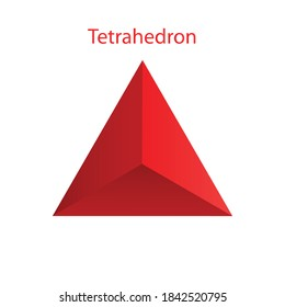 Vector red tetrahedron with gradients for game, icon, package design or logo. One of regular polyhedra isolated on white background. Minimalist style. Platonic solid.