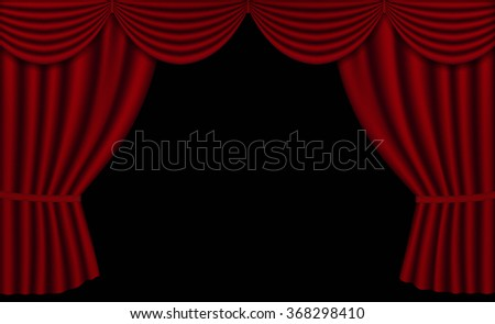 vector red theater curtains open black stock vector royalty free