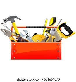 Vector Red Toolbox with Hand Tools