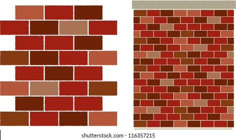 vector red varied Brick wall pattern - easily edit to make your own brick pattern!