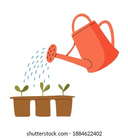 Vector red watering can isolated on a white background. Gardening tools. Seedlings are watered from a watering can.