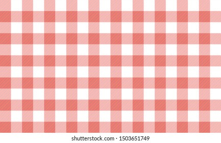 vector Red and white Gingham check pattern design illustration for printing on paper, wallpaper, covers, textiles, fabrics, for decoration, decoupage, and other.