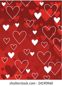Vector red and white hearts