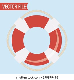 Vector Red and White Lifesaver with Rope