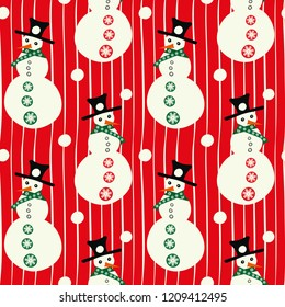Vector red and white smiley snowmen with hats, with snowballs linear seamless pattern background. Perfect for seasonal giftwrap, invitations, quilting and fun scrapbooking and marketing projects.