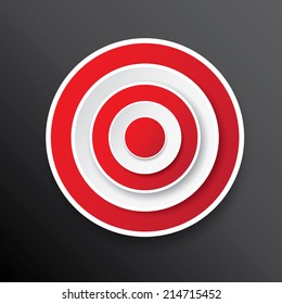vector red and white target icon on black. vector glossy target symbol design element