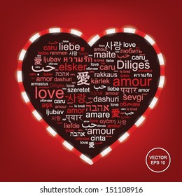 """Vector red word cloud made of words """"love"""" in many languages forming a heart shape"""