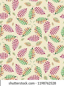 Vector red,green and cream textured leaf seamless half-drop pattern background. Perfect for fabric, scrapbooking, giftwrap, wall paper projects, stationary, quilting.