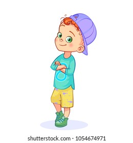 Vector redhead complacent boy posing, arms crossed. Funny cartoon separate little kid in cap, full-length.