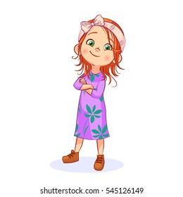 Vector redhead complacent girl posing, arms crossed. Funny cartoon separate child character in bohemian style, full-length.