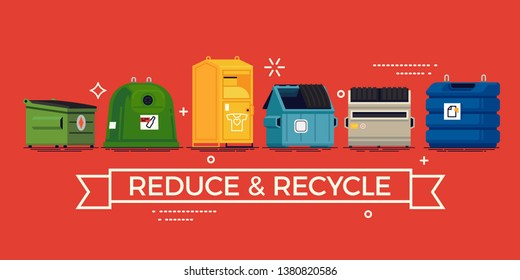 Vector Reduce and Recycle banner template with colourful recycling containers and dumpsters. Ideal for environmental awareness, ecology, waste reducing themed banners, posters and social media content