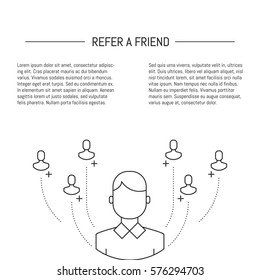 Vector Refer a friend concept in trendy linear style.