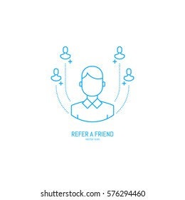 Vector Refer a friend icon in trendy linear style.
