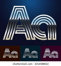 Vector reflective abstract Alphabet set. Different metallic colors. Letter A