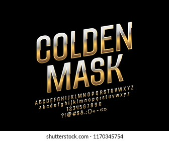Vector reflective Golden Mask sign with Luxury Font. Elegant Chic Alphabet Letters set