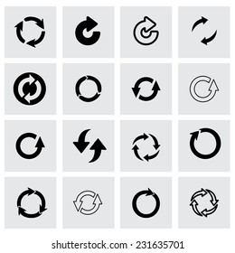 Vector refresh icon set on grey background