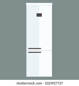 Vector Refrigerator electronic device isolated on white. Flat and solid color design fridge.
