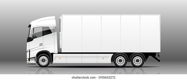 Vector refrigerator truck, lorry, side view. White blank template truck for advertising, tk. Freight transportation. Urban cargo transportation over short distances. Modern flat vector illustration.