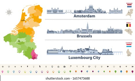 Vector regions map of Belgium, Netherlands and Luxembourg. Amsterdam, Brussels and Luxembourg City flat style skylines in dark blue color palette. Navigation and location icons