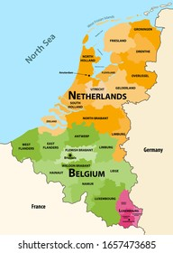 Vector regions map of Benelux countries: Belgium, Netherlands and Luxembourg, with neighbouring countries and territories