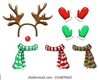 vector reindeer face template isolated on white. antlers headband red nose scarf and mittens for holiday design. Xmas cartoon reindeers mask and accessory. Christmas and new year photo booth and props