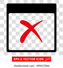 Vector Reject Calendar Page EPS vector icon. Illustration style is flat iconic bicolor intensive red and black symbol on a transparent background.