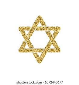 Vector religion symbol golden glitter Star of David. Israel 70 anniversary sign. Jerusalem golden star. Star with gold glitter effectTraditional Jewish symbol.Jewish star isolated on white background