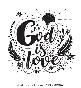 Vector religions lettering - God is everywhere so pray anywhere. Modern lettering. T shirt hand lettered calligraphic design . Perfect illustration. on white background