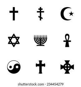 Vector religious symbols icon set on white background