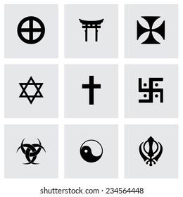Vector religious symbols icon set on grey background