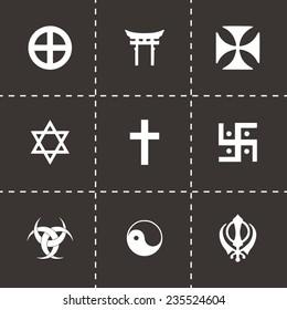 Vector religious symbols icon set on black background