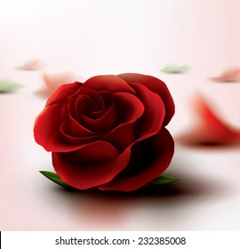 Vector render close up of red rose  with petals, scattered  in background.