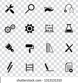 vector repairing tool symbols - maintenance work illustrations. industrial instrument. construction design icons set