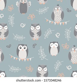"""Vector repeat pattern with cute owls on green background. Hand-drawn style, pastel colors. One of """" The Owls"""" collection patterns."""