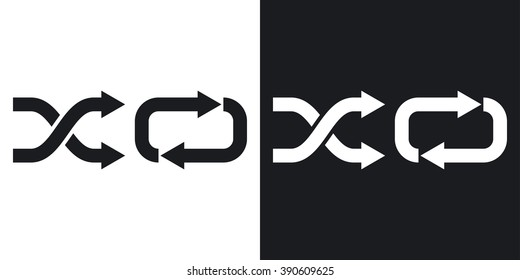 Vector Repeat and Shuffle Icon. Two-tone version on black and white background