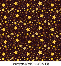 vector repeating pattern of bright golden stars over brown backgroud in various size for textile, fabric, backgrounds, backdrops, wallpaper and creative festive and cheerful surface designs