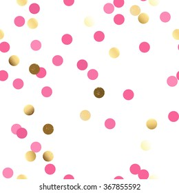 Vector repeating seamless polka dot pattern with dots of gold and pink. Geometric casual texture on white background.